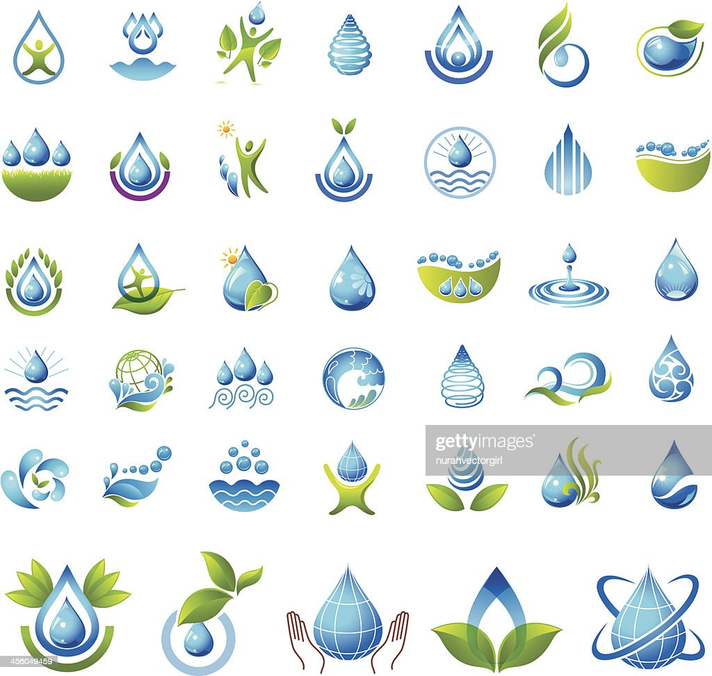 Two-color vector illustration, water icon set