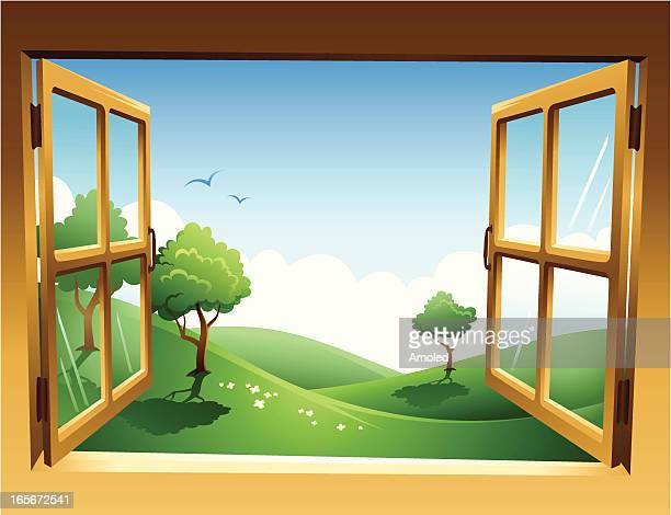 Two-dimensional spring landscape through open window