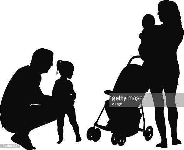 twos vector silhouette - three wheeled pushchair stock illustrations, clip art, cartoons, & icons