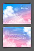 Two-sided horizontal flyer of a4 format with realistic pink-blue sky