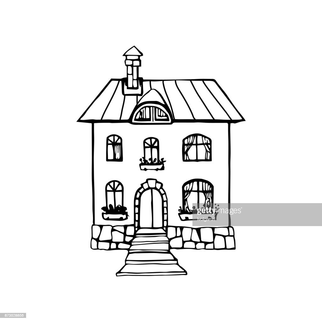 Two-storey country house hand drawn icon