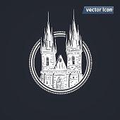 Tyn Church in Praha vector illustration