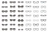 Types of glasses and sunglasses. Big flat vector set.