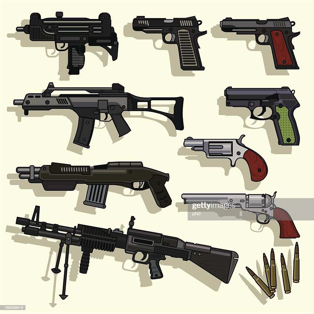 Types of Guns Collection Vector : stock illustration