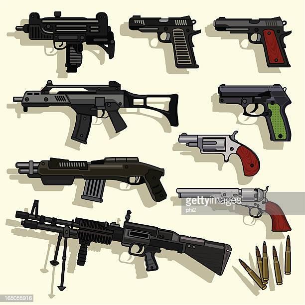 ilustrações de stock, clip art, desenhos animados e ícones de coleção de vetor de armas de tipos - metralhadora