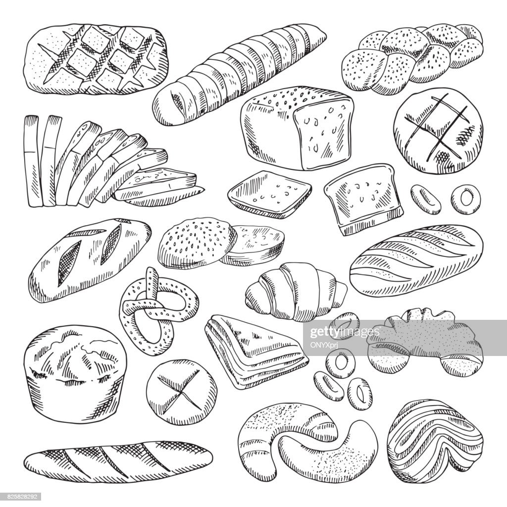 Types of healthy bakery foods. Croissant and fresh bread. Hand drawn vector pictures
