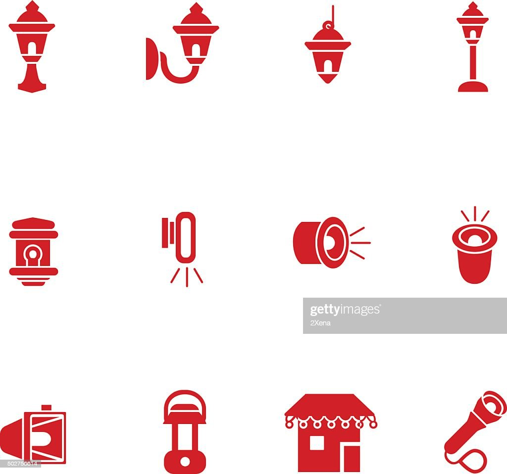 Types of lighting for outdoor use as glyph icons
