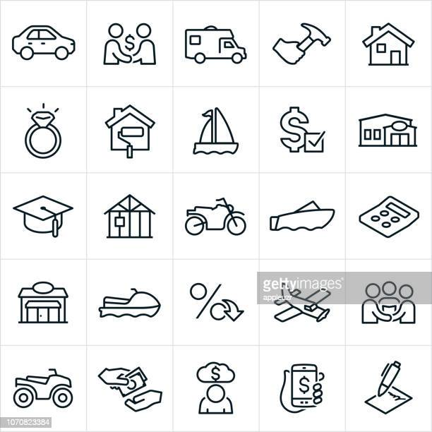 types of loans icons - small business stock illustrations