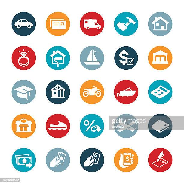 types of loans icons - borrowing stock illustrations
