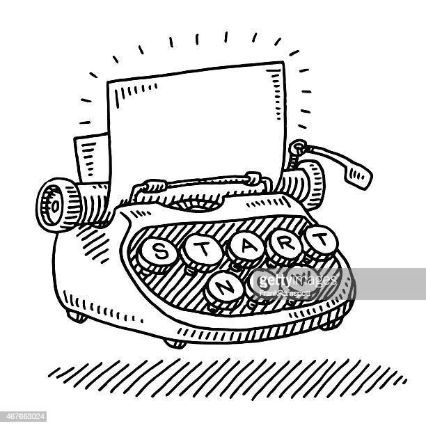 typewriter blank paper start now concept drawing - typewriter stock illustrations