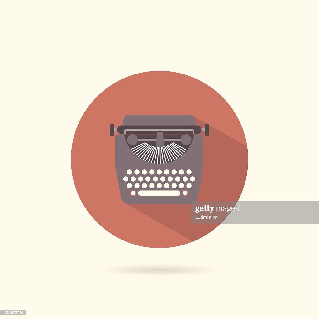 Typewriter flat round icon.