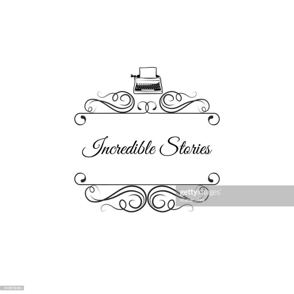 Typewriter icon. Writer design. Swirls, filigree ornate frames. Decorations. Vector.