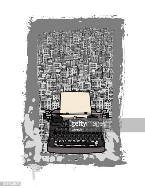 typewriter in the city vector illustration - building story stock illustrations
