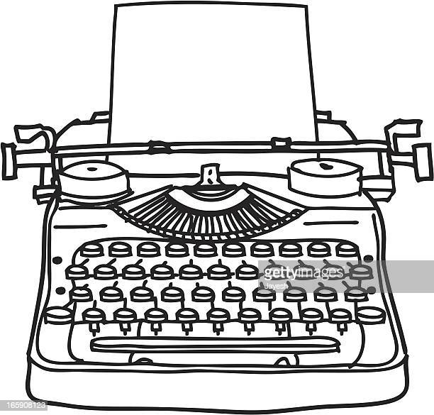 stockillustraties, clipart, cartoons en iconen met typewriter line drawing - authors