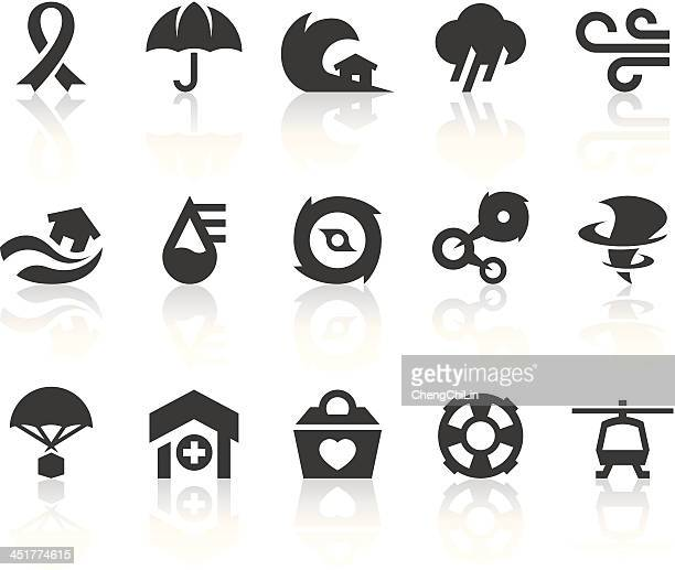 typhoon icons | simple black series - cyclone stock illustrations, clip art, cartoons, & icons
