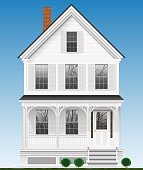 A typical and classic American house made of wood painted with white paint. Two floors, basement and attic.