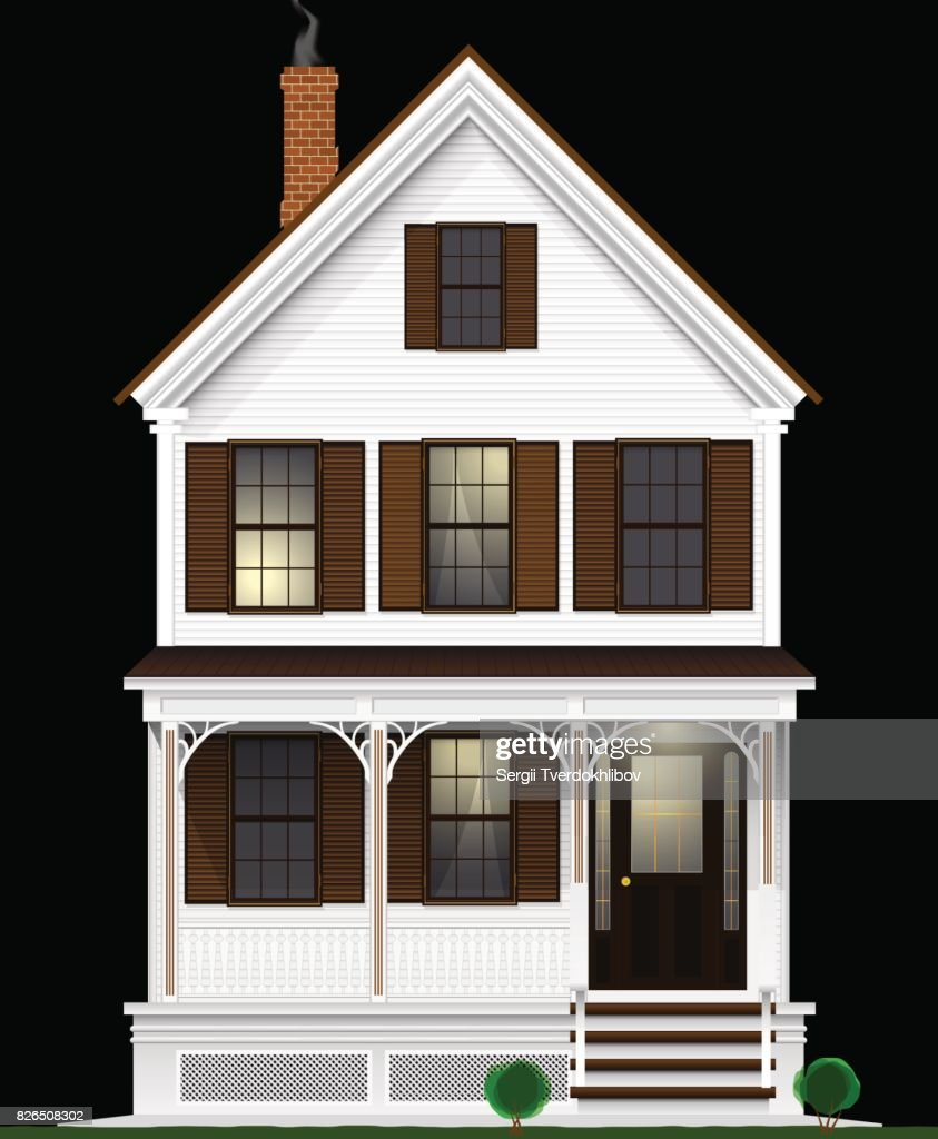 A typical and classic American house made of wood painted with white paint. Two floors, basement and attic. Night view.