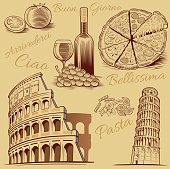 typical italian food, pizza, pasta, tomato, wine and Roma Colosseum drawing