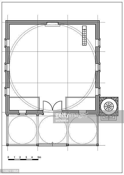 ilustrações de stock, clip art, desenhos animados e ícones de típica mesquita plano em tons de cinzento - nicho