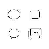 Typing in a bubble chat icon. Comment sign symbol. Flat isolated vector illustration in black on a white background