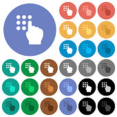Typing security code round flat multi colored icons