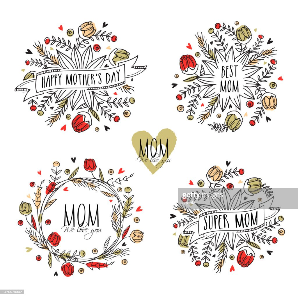 Typographic collection or frames for Happy Mother's Day.