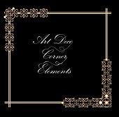Typographic document corner in gold art deco design, luxurious decorative elements for print, restaurant menus, leaflets, invitation, announcement