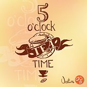 Typographic retro composition with 5 o'clock