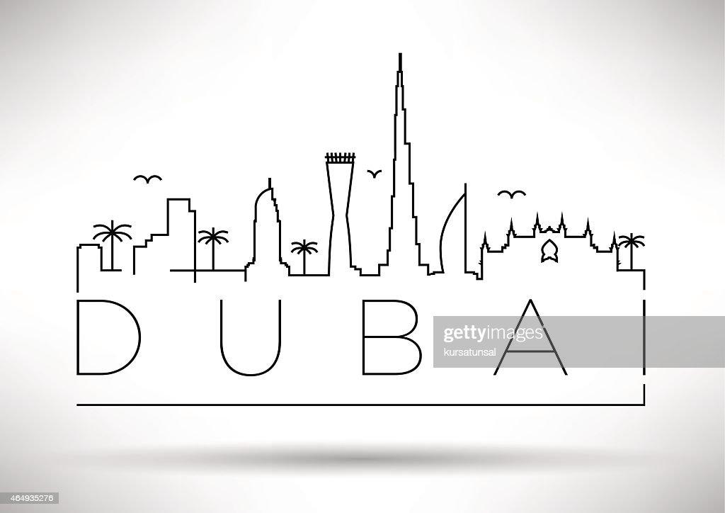 A typographic silhouette design of the Dubai city skyline