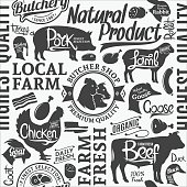 Typographic vector butchery seamless pattern or background