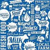 Typographic vector milk product seamless pattern or background