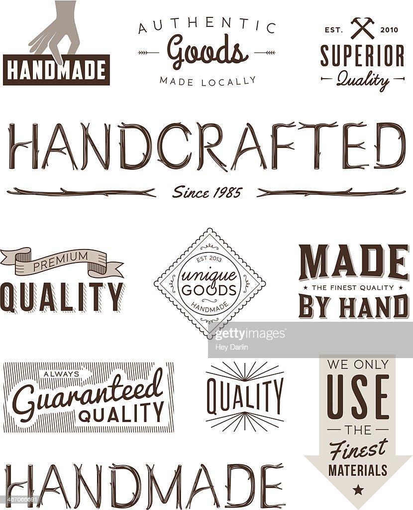 Typography Badges Brown