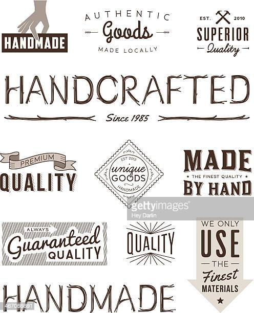 typography badges brown - carpenter stock illustrations