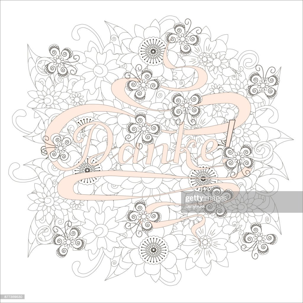 Typography banner pink Danke, means thanks in german language, swirls hand drawn lettering on grey outline flowers background