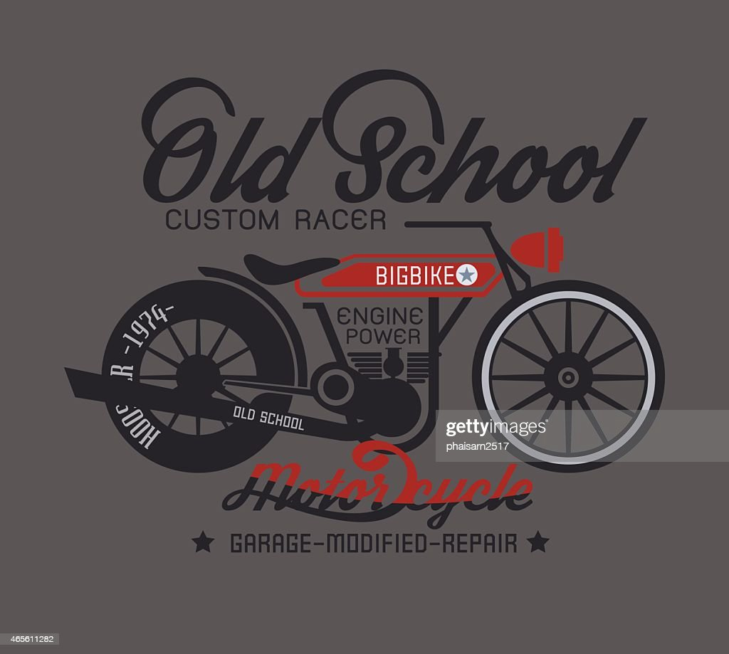 Typography design of old school classic motorcycle
