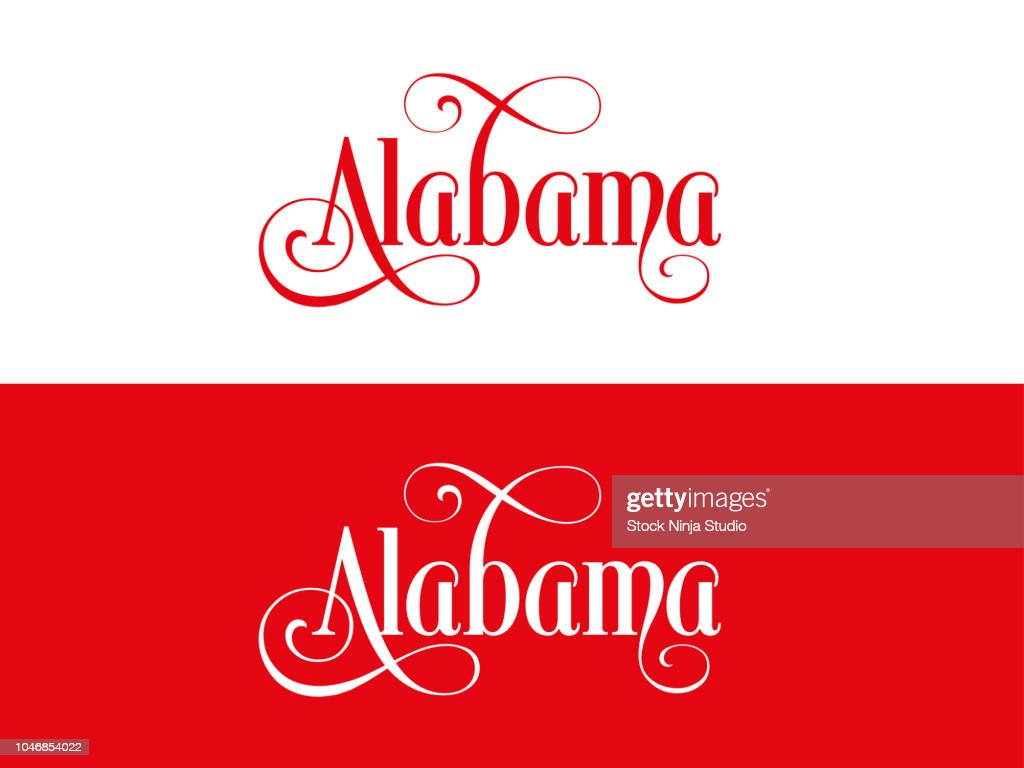Typography of The USA Alabama States Handwritten Illustration on Official U.S. State Colors