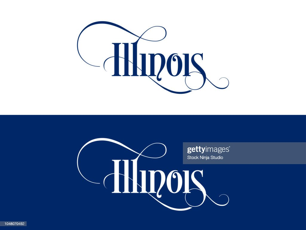 Typography of The USA Illinois States Handwritten Illustration on Official U.S. State Colors