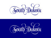 Typography of The USA South Dakota States Handwritten Illustration on Official U.S. State Colors