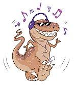 tyrannosaurus listening music