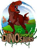Tyrannosaurus on the background of the sea. Logo. Dinosaur world