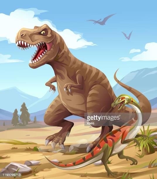 tyrannosaurus rex hunting - prehistoric era stock illustrations