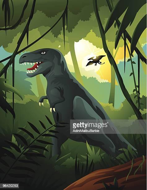 ilustrações, clipart, desenhos animados e ícones de tiranossauro rex na selva - réptil