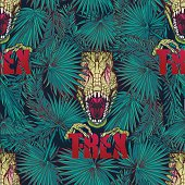 tyrannosaurus roaring head in tropical leaves pattern