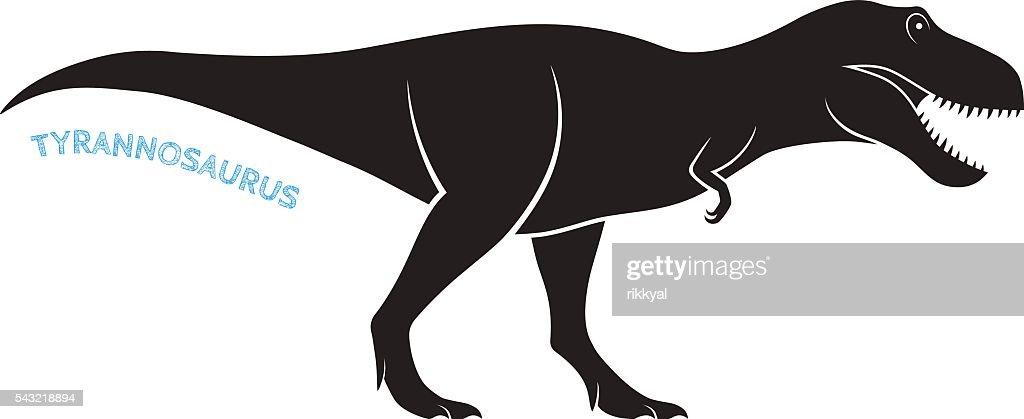 Tyrannosaurus silhouette icon emblem on white background.