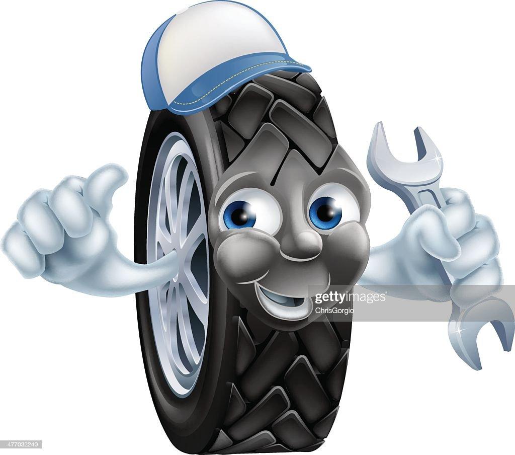 Tyre mechanic cartoon mascot