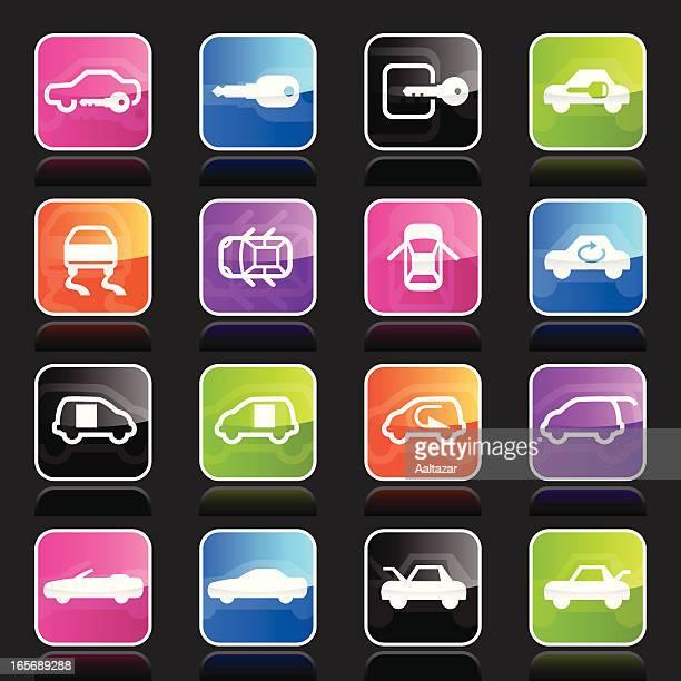 ubergloss icons - car control indicators - skidding stock illustrations, clip art, cartoons, & icons