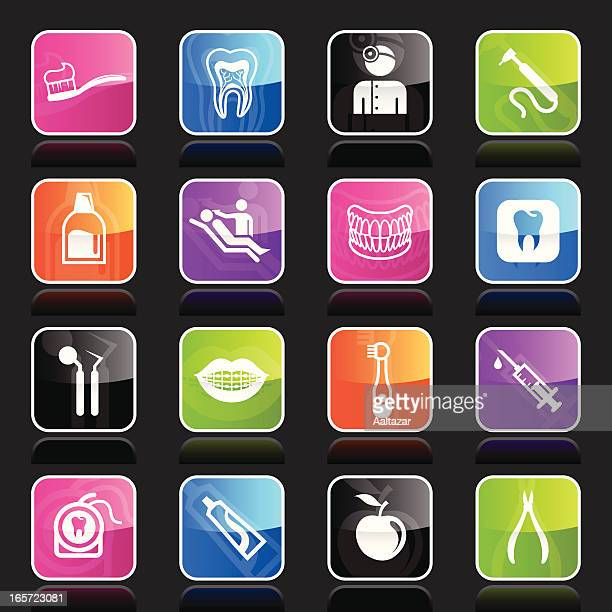 ubergloss icons - dental care - mouthwash stock illustrations