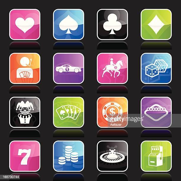 ilustraciones, imágenes clip art, dibujos animados e iconos de stock de ubergloss iconos de juegos de azar & apuestas - fajo de billetes