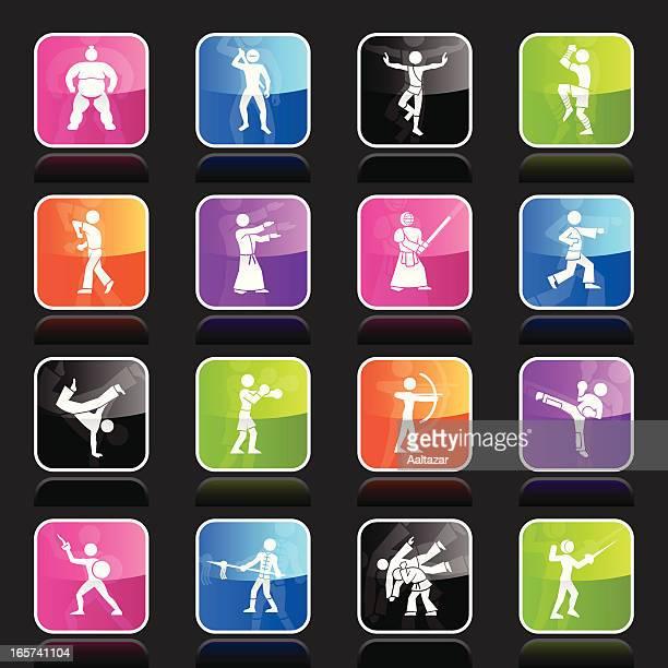 ilustrações de stock, clip art, desenhos animados e ícones de ubergloss ícones-artes marciais - capoeira