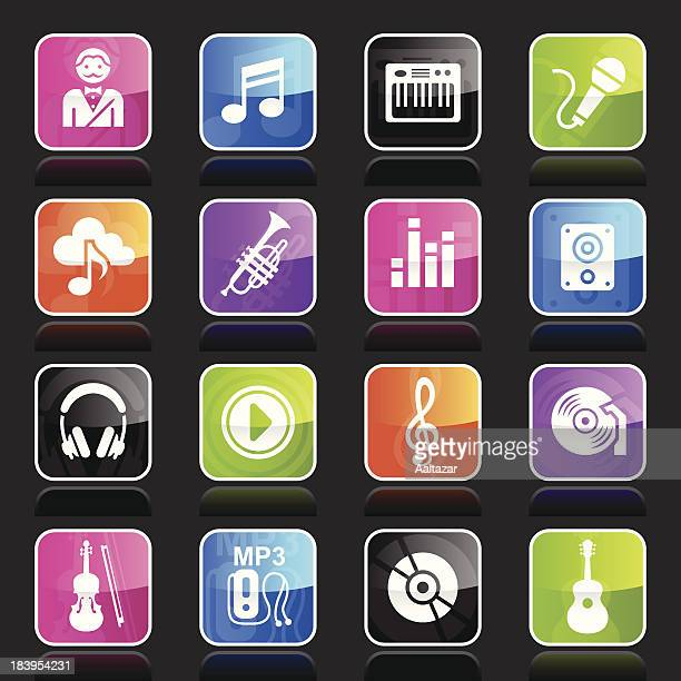ubergloss icons - music - soundtrack stock illustrations, clip art, cartoons, & icons